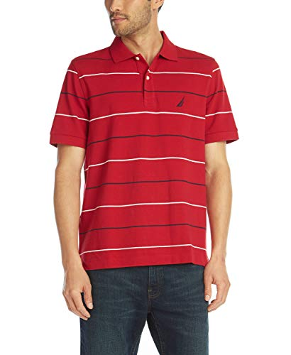 (Nautica Men's Classic Fit Short Sleeve 100% Cotton Pique Stripe Polo Shirt, Red, XX-Large)