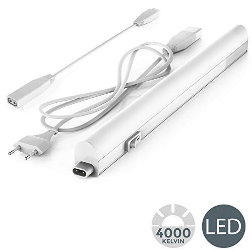B.K.Licht - Regleta LED bajo armarios y cabinetes, de luz blanca neutra, iluminacion bajo mueble con interruptor de luz, 4W, 4000K, 400lm, color blanco