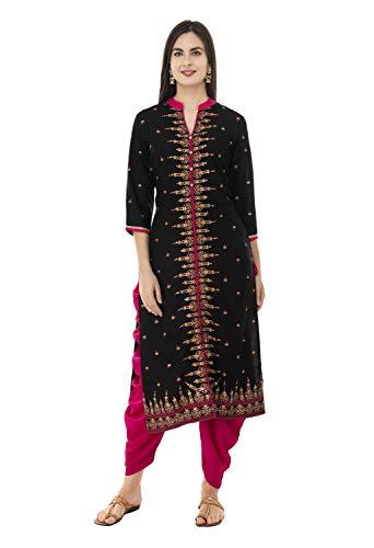 SABHYATA Womens Kurta Indian Kurtis for Women Casual Tunic Kurti Tops Long Dress (X-Large, Black Rayon C Neck)