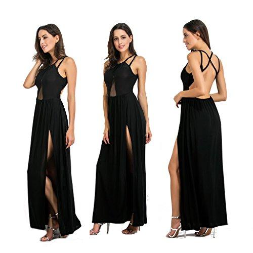 Slit Women Dresses Maxi Sleeveless Backless Mesh Clothink Black Halter Strappy HUq040wxR