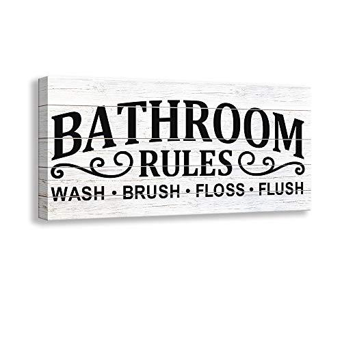 Kas Home Vintage Bath Canvas Wall Art | Rustic Bathroom Rules Prints Signs Framed | Bathroom Laundry Room Decor (8 X 16 inch, Bathroom Rules - 02)