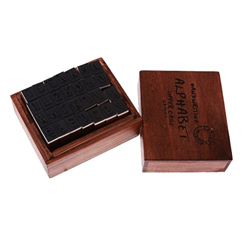 Jili Online Pack of 28 Wooden Rubber Running Hand Alphabet Letters Stamps Seals Set with Wood Box Alphabet 28 Rubber Stamps