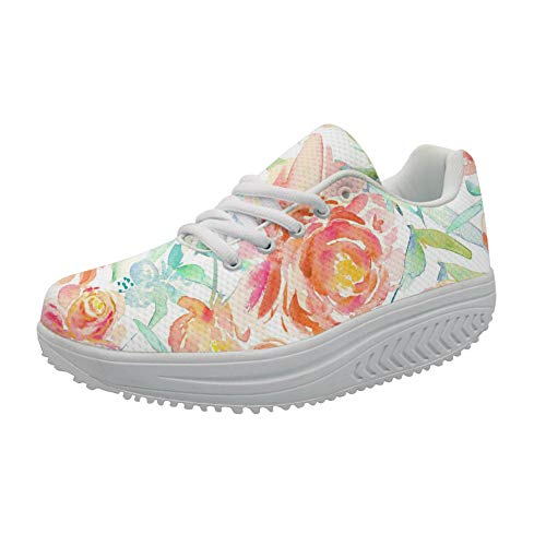 FOR U DESIGNS Leisure Slimming Rocking Shoe Floral Roes Ladies Cross Strap Breath Wedges Flats Sneakers US 8]()