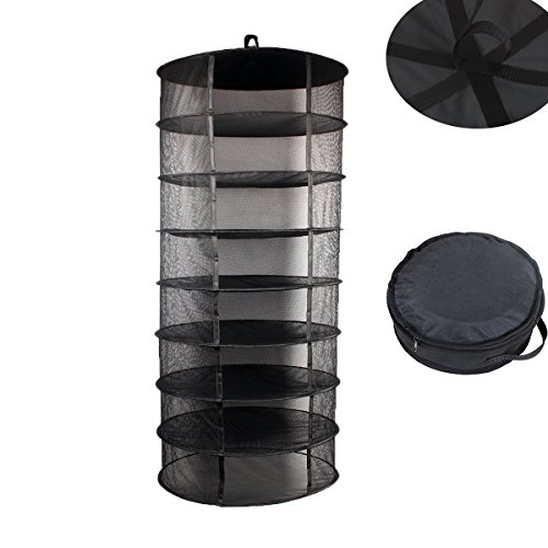 TopoGrow 2FT 8 Layer Black Mesh Hanging Herb Drying Rack Dry Net for Storage Drying Seeds (2FT 8-Layer)