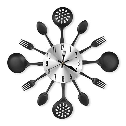 XSHION Metal Wall Clock,16 1/2 Inch Kitchen Utensil Spoon Fork Wall Clock Silent Non Ticking Wall Clock for Home Decor - Black