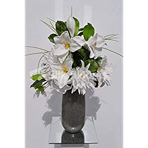 Silk Blooms Ltd Artificial White Fresh Touch Amaryllis and Chrysanthemum Flower Display w/Gloriosa and Grass 21