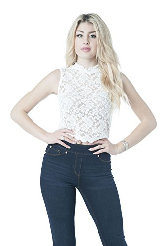 Sleeveless Lace Sheer Mock Neck Crop Top (Large, Ivory)