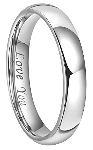 CROWNAL 4mm 6mm 8mm Tungsten Wedding Band Ring Couple Men Women Plain Dome Polished Engraved I Love You Comfort Fit Size 3 To 17 (4mm,7.5)