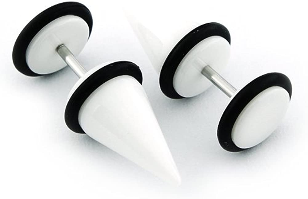 Short Acrylic Fake Tapers 0G Gauge Cheaters United Duo Solid White 8mm