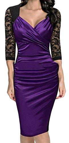 Bodycon Midi Cromoncent Womens Pleated V Neck Purple Sleeve Club Half Sexy Deep Dress R8nrvwTxR