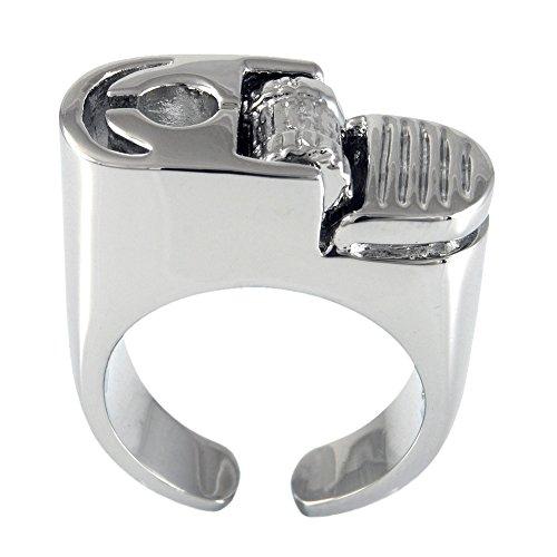 Ellenviva Non-Functional Got a Smoke Ring Size 7 Shiny Silver Tone ()
