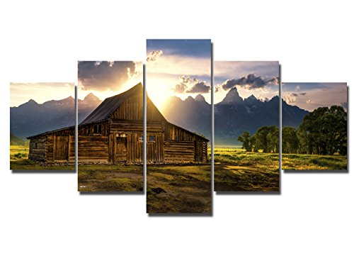 Grand Teton Pictures Barn Wyoming Paintings Big Canvas Landscape Art for Wall Artwork National Park Modern Artwork 5 Piece Home Decor for Living Room Gallery-wrapped Framed Ready to - Pictures Kitchen Western