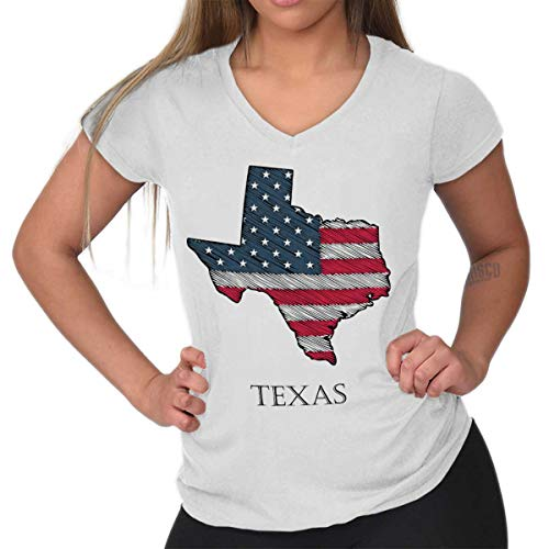 Brisco Brands American Flag Patriotic State Pride USA Texas Junior Fit V Neck T Shirt