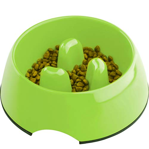 Super Design Anti-Gulping Dog Bowl Slow Feeder, Interactive Bloat Stop Pet Bowl for Fast Eaters 1.5 Cup Green