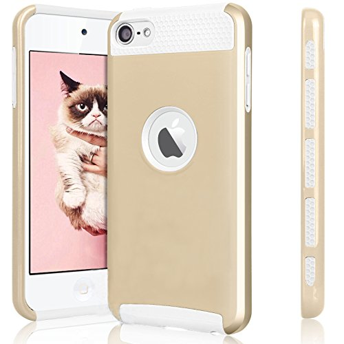 (iPod Touch 6 Case,iPod Touch 5 Case,Jwest Slim Fit Protective iPod Touch Case 2-Piece Style Hybrid Hard Case Cover for Apple iPod touch 5 6th Generation (Golden&White))