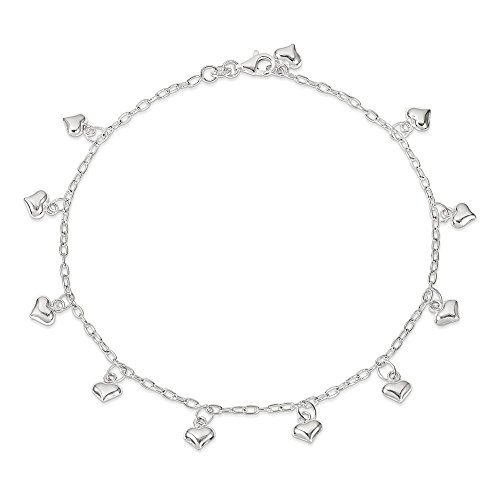 Sterling Silver Polished Puffed Heart Anklet 10 Inch