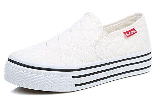 Sfnld Femmes Automne Printemps Plate-forme Slip Sur Mocassins Chaussures Sneaker Blanc
