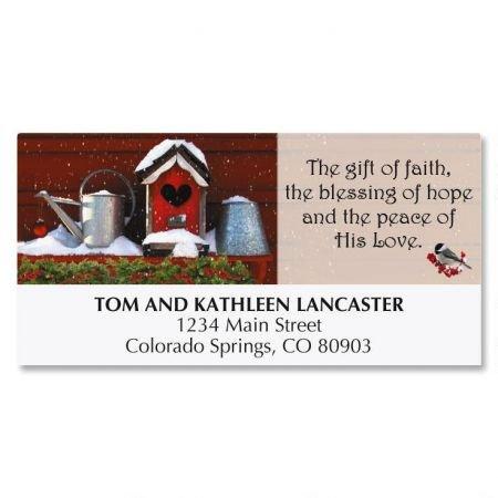 (Birdhouse Christmas Address Labels- 48 Self-Adhesive,Flat-Sheet Return Labe)