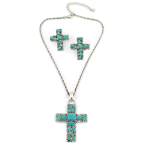 jianxi Vintage Alloy Synthetic Turquoise Necklace Fashion Jewelry Women (1288) ()