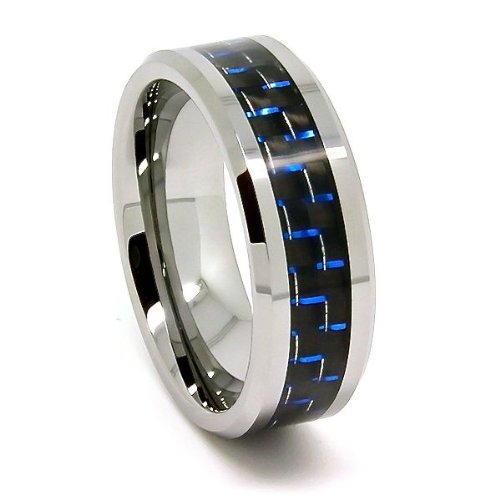 8mm Tungsten Carbide Black and Blue Carbon Fiber Wedding Band (Available in Sizes 5-17)
