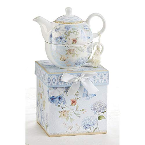 Delton Product Porcelain Tea for One in Gift Box Blue Butterfly 5.8 Inches
