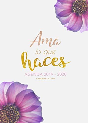 Agenda Semana Vista 2019 2020: Octubre 2019 a Diciembre 2020 Agenda Semanal - Español - Calendario, Organizador y Planificador - Agendas Semana Vista ... en rosa (Ama lo que haces) (Spanish Edition)