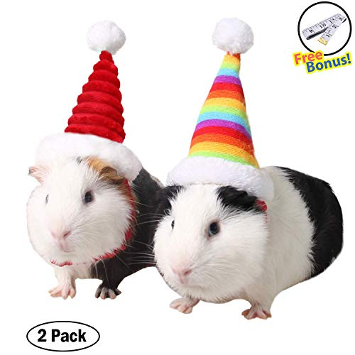 OLI Guinea Pig X'mas Costume 2pcs – Small Pet Holiday Elastic Hamster Kitty Santa Hat Cap Headwear Collection Accessory…