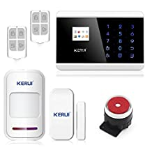 KERUI Professional IOS Android App Touch keypad TFT color Display GSM PSTN Home Security Alarm System Kit with Auto Dial KR-8218G