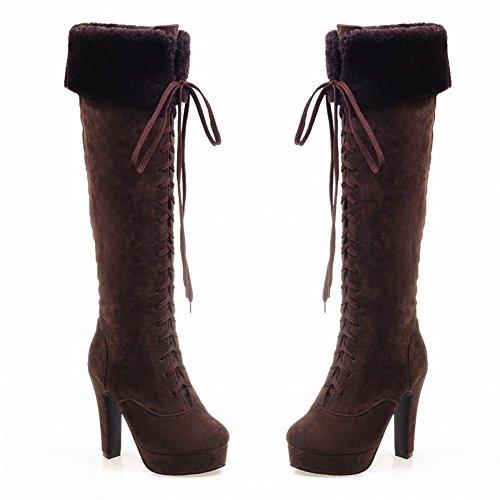 Mee Shoes Damen modern reizvoll runder toe mit Schnürsenkel Plateau Langschäfter Stiefel mit hohen Absätzen Rotbraun