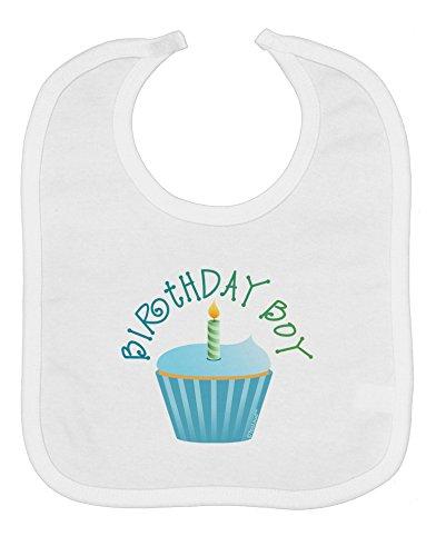 TooLoud Birthday Boy - Candle Cupcake Baby Bib - White