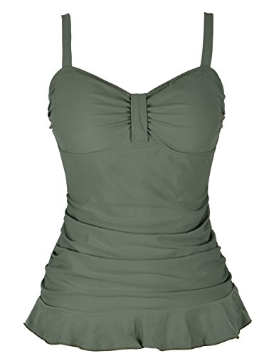 - Hilor Women's 50's Retro Ruched Tankini Swimsuit Top with Ruffle Hem Army Green 12