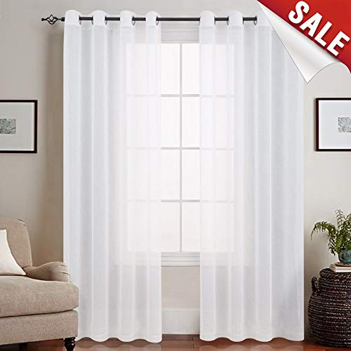 jinchan Linen Look Sheer White Curtains for Bedroom Voile Sheer Curtains for Living Room,Grommet Top (2 Panels, 50 Inch Width x 84 Inch Length, White) ()