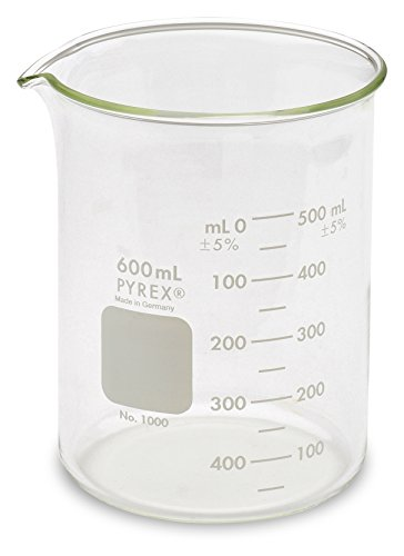 Corning Pyrex - Corning Pyrex 1000-600 Glass 600mL Graduated Low Form Griffin Beaker, 50mL Graduation Interval, with Double Scale