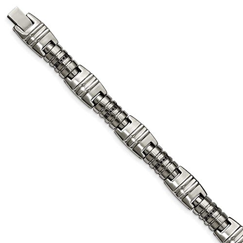 En acier inoxydable brossé et poli Noir CZ Bracelet lien-JewelryWeb 21 cm