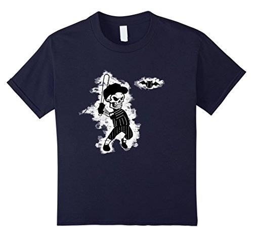 [Kids Skeleton Baseball Halloween T-Shirt 12 Navy] (Baseball Catcher Halloween Costume)