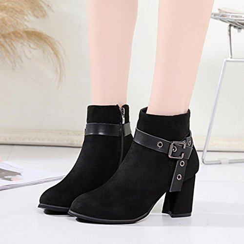 Winter Boots Buckled Strap Boots Women Boots Round Head Bolck Bottom Martin Boots Classic Ankle Boots   (US:7, Black)