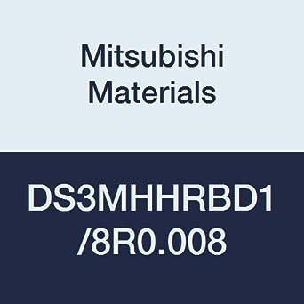 High Helix 60/° 3 Medium Flute 0.1250 Cutting Dia Mitsubishi Materials DS3MHHRBD1//8R0.008 DS3MHHRB Series Carbide Diamond Star Corner Radius End Mill 0.008 Corner Radius Roughing