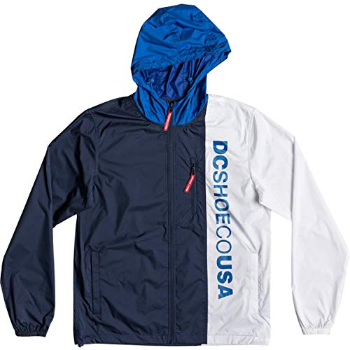 DC Shoes Mens Shoes Dagup Triple Block - Water-Resistant Hooded Windbreaker - Men Nautical Blue ()