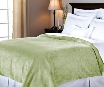 Sunbeam Velvet Plush Heated Blanket, Queen Size, Olive - Plush Olive