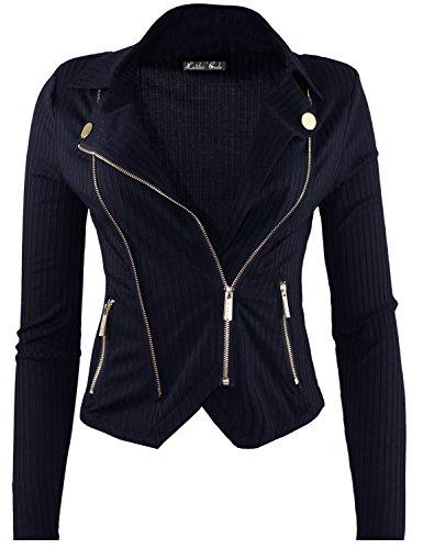 Mutli Zipper Detail Rib Fitted Jacket Navy S Size - Mutli Apparel