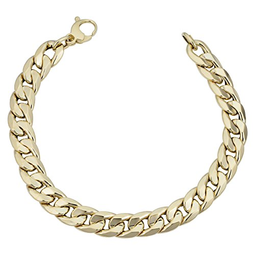 Kooljewelry Mens 14k Yellow Gold Cuban Curb Link Bracelet (9.2 mm, 8.5 inch) ()