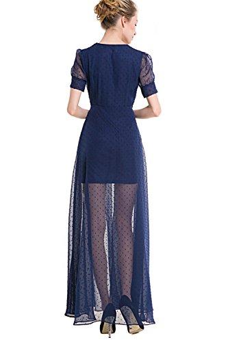 Frauen 1940er Jahre Vintage Langarm öffnen vorne Kleid lRvhgW