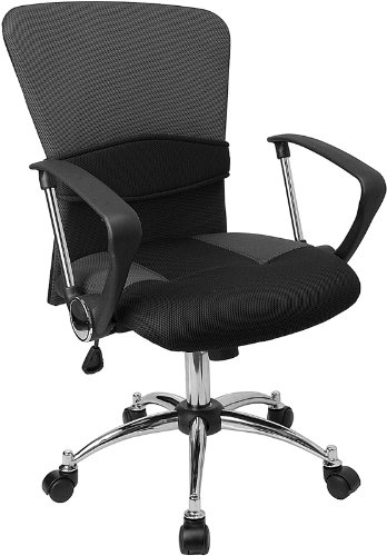 Mid Back Grey Mesh - Flash Furniture Mid-Back Grey Mesh Swivel Task Chair with Arms