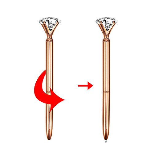 Bememo 12 Pieces Big Diamond Crystal Ballpoint Pens and 6 Pieces Ballpoint Pen Refills, Black Ink (Rose Gold) Photo #2