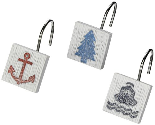 Avanti Linens Lake Words Shower Hooks, Multicolor
