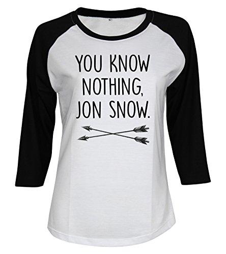 Topcloset Women's You Know Nothing Jon Snow Baseball T-Shirt Size M, White