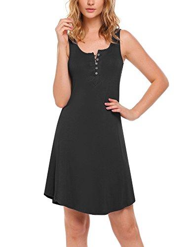 Womens Henley Nightshirt (Ekouaer Pajamas Button Down Sleep Shirt Sleeveless Sleepwear for Women Black S)