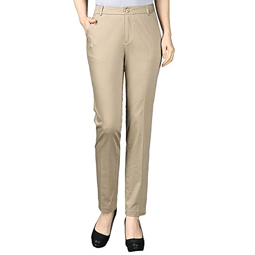 Long Khaki - Womens Dress Pants Pull On Slacks Spring Summer Long Casual Work Straight Stretch Fit Chino Petite Pants for Women Ladies Size 38x32 38x34 38x36 38x38