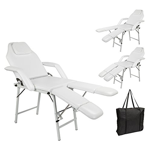Goujxcy Salon SPA Pedicure Massage,75″ Portable Adjustable Massage Table Chair Couch for Salon Beauty Physiotherapy Facial SPA Tattoo,White