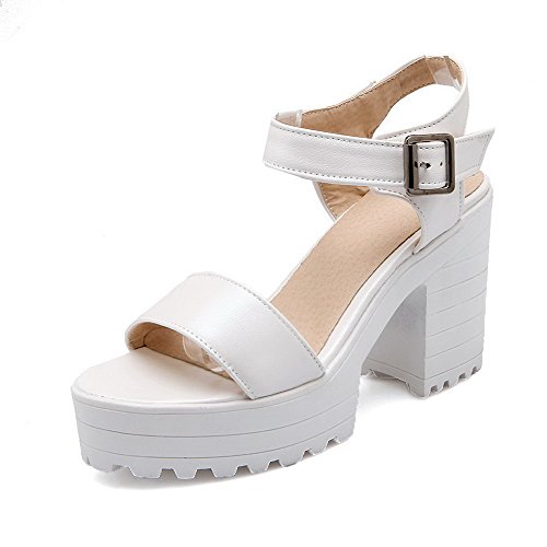 VogueZone009 Women's Open Toe High-Heels Buckle Pu Solid Sandals White